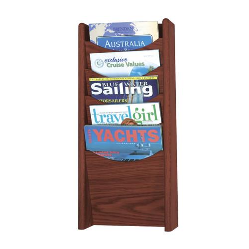 5-Pocket Wood Magazine Rack