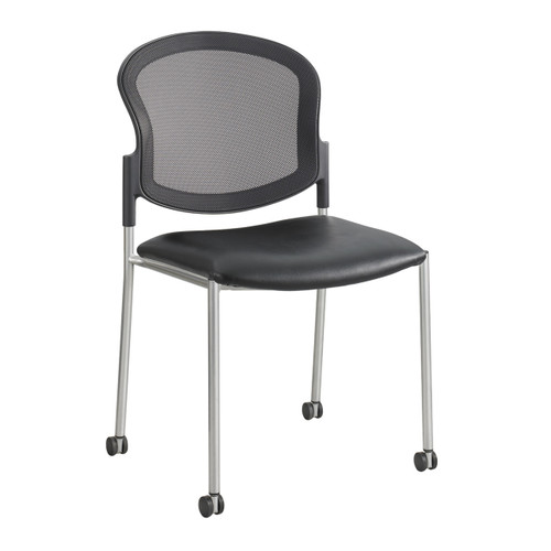 Diaz Guest Mesh Back Chair - Black Vinyl