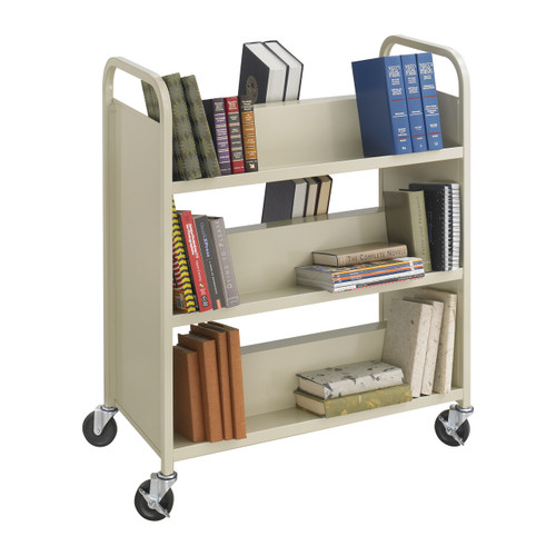 Steel Double-Sided Book Cart - 6 Shelves