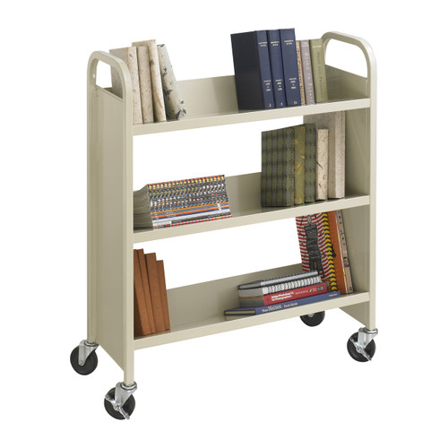 Steel Single-Sided Book Cart - 3 Shelves