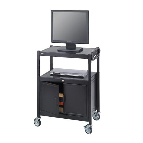 Steel Adjustable AV Cart With Cabinet