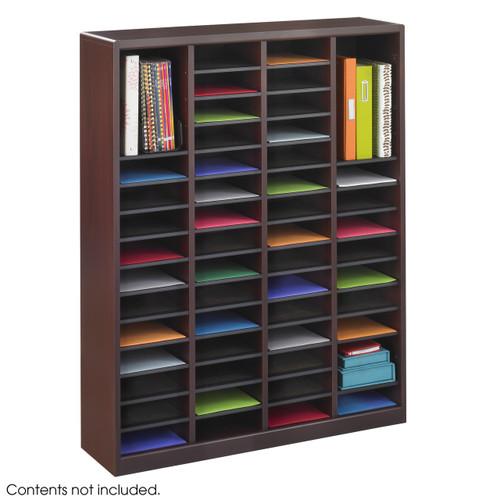 E-Z Stor Wood Literature Organizer, 60 Compartments