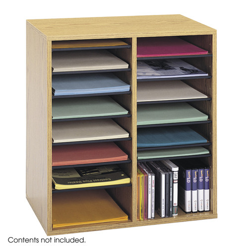 Wood Adjustable Literature Organizer, 16 Compartment