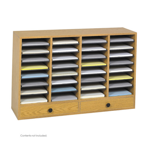 Wood Adjustable Literature Organizer, 32 Compartment w. Drawer