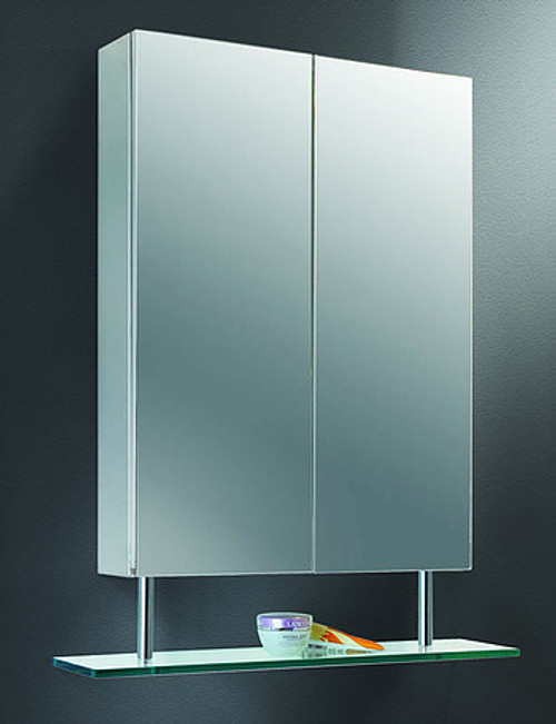 Ketcham Lighted Mirror Medicine Cabinets Stainless Steel Series with Suspended Shelf