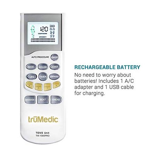 TENS Electronic Pulse Stimulator Unit & 4 Electrode Pads, Model # TM-1000PRO