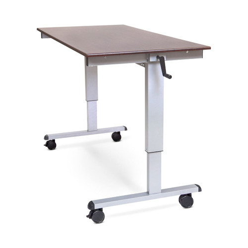 "60"" Crank Adjustable Stand Up Desk - Dark Walnut"