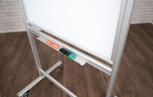 "30""W x 40""H Double-Sided Mobile Magnetic Glass Board"