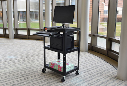 "Black 42"" Adjustable Height Table w/keyboard tray"