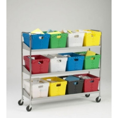 Charnstrom Extra long, Three Shelf Mobile 12 Bin Mail Cart