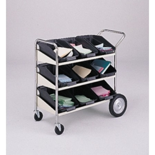 Charnstrom Three Shelf Mobile Bin Mail Distribution Cart