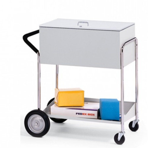 "Charnstrom Medium Metal Mail Distribution Cart with 10"" Rear Tires and Locking Top"