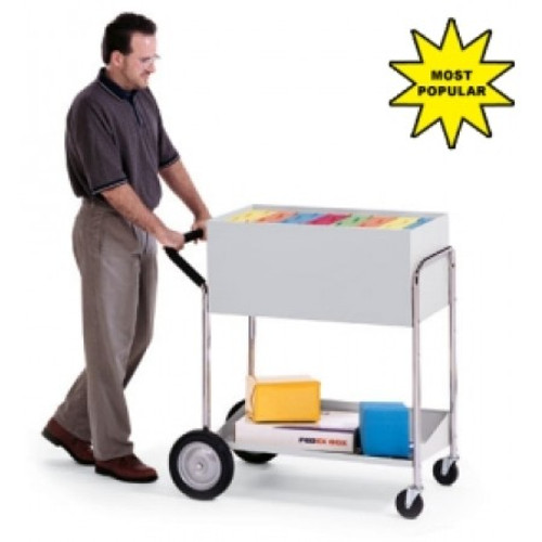 "Charnstrom Medium Solid Metal Mail Delivery Cart with 10"" Rear Tires"