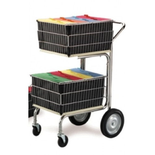 Charnstrom Compact Wire Basket Mail Cart with 2 File Baskets