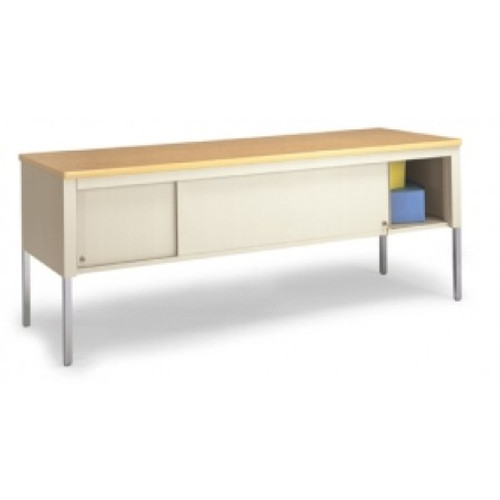 """Charnstrom Mail Room and Office Work Table 72""""W x 20""""D Standard Adjustable Height Table With Sliding Locking Door"""