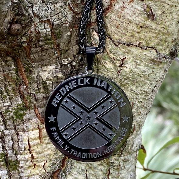 Redneck Nation Stainless Steel Charm and Necklace