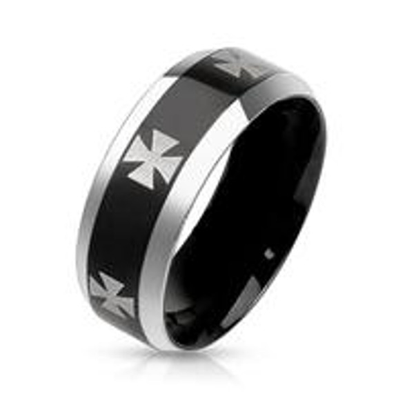 **Closeout** Redneck Nation© Iron Cross Black Stainless Steel Ring MMR-22