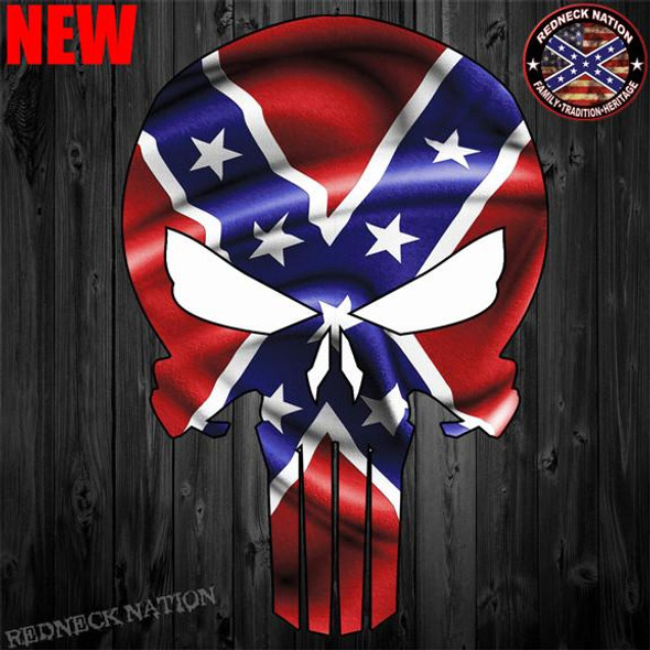 Confederate Punisher Skull Sticker