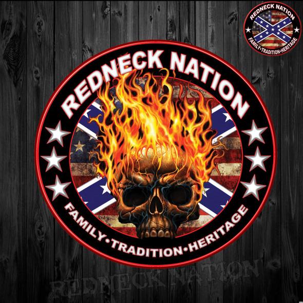 Redneck Nation Flaming Skull RNST-27