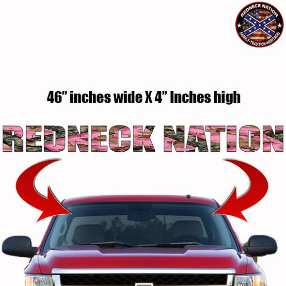 Redneck Nation Pink Realtree Windshield RNFW-3