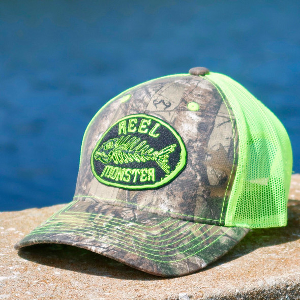 Reel Monster© Camo/Lime Green Mesh Back Hat RMLG-16