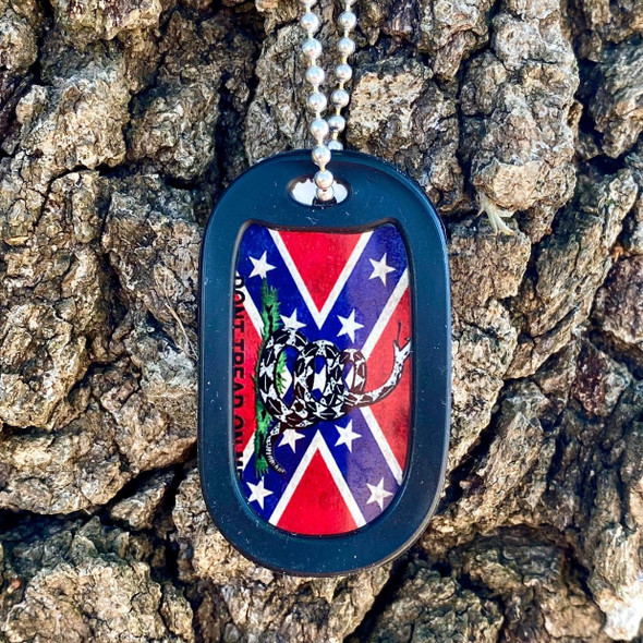Confederate Flag Don't tread on Me Dog Tag + FREE Chain + Silencer