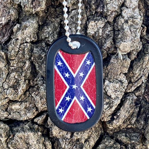 Distressed Confederate Flag Plate Dog Tag + FREE Chain + Silencer