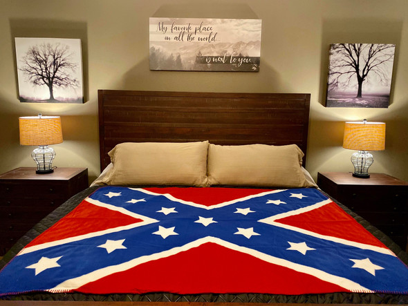 "Large 67"" X 52"" Redneck Nation Fleece Rebel Throw"
