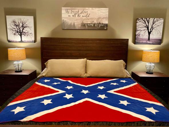"Large 67"" X 52"" Redneck Nation Fleece Rebel Throw"