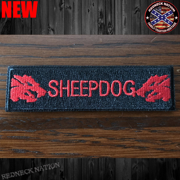 Sheep Dog Red Velcro Back Hat Patch VHP-19