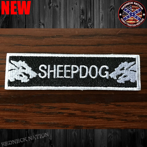 Sheep Dog White Velcro Back Hat Patch VHP-18