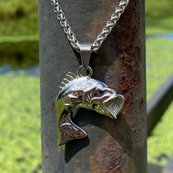 Bass Stainless Steel Charm and Necklace