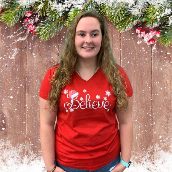 Believe Santa Hat Ladies Shirt RNSS-GS3587