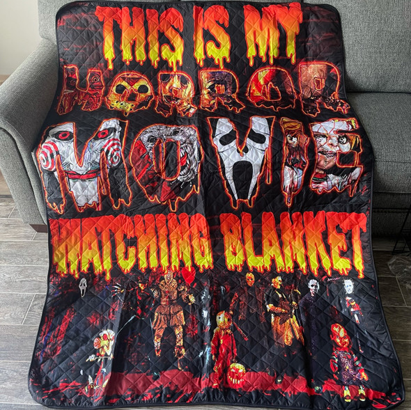"""This is My Horror Movie Watching Blanket Logo Quilted Blanket Large 57"""" X 85"""""""