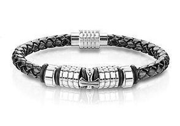 Cross Charm Genuine Black Leather Cord Braided Bracelet  MMB-5