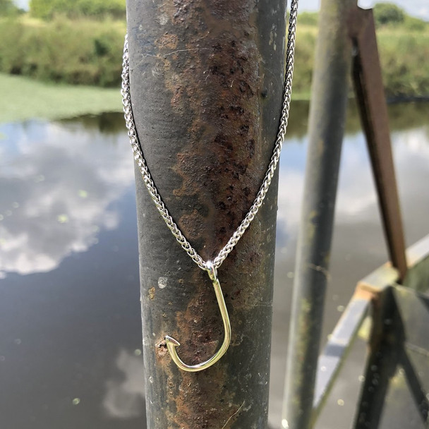 Fishing Hook Stainless Steel Charm and Necklace