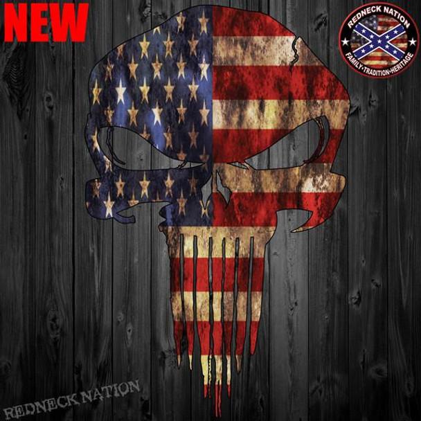 American Flag Punisher Skull Sticker