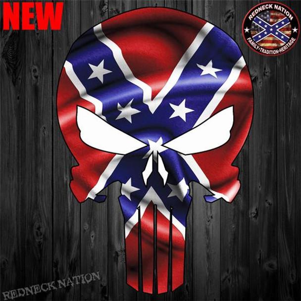 Confederate Punisher Skull Sticker