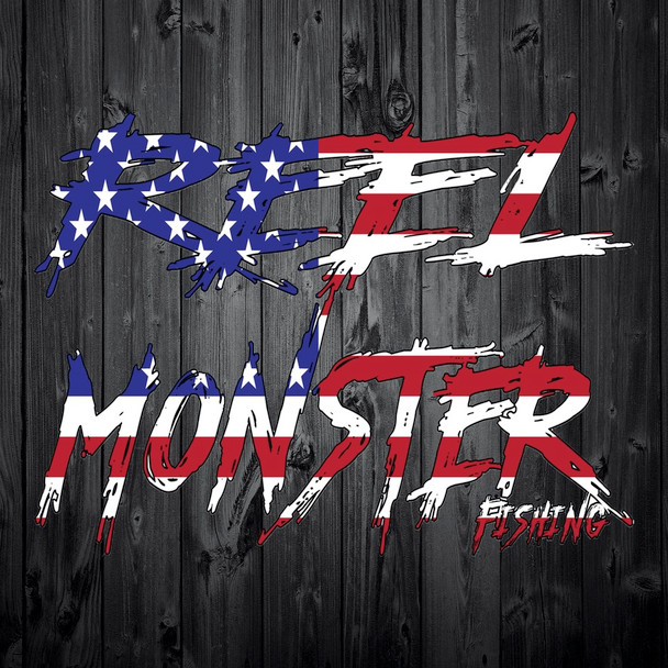 Reel Monster Red White and Blue Writing