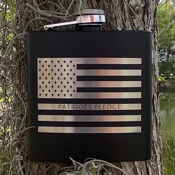 Patriots Pledge American Flag Flask