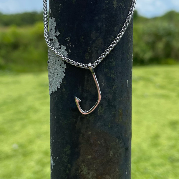 Ladies Fishing Hook Stainless Steel Charm and Necklace