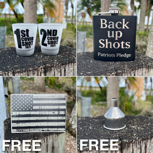 1st and 2nd Covid Shot Glass and Backup Flask