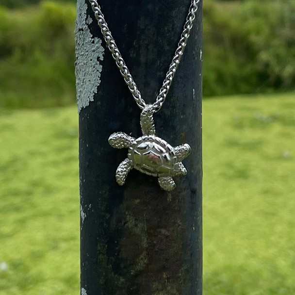 Turtle Stainless Steel Charm and Necklace