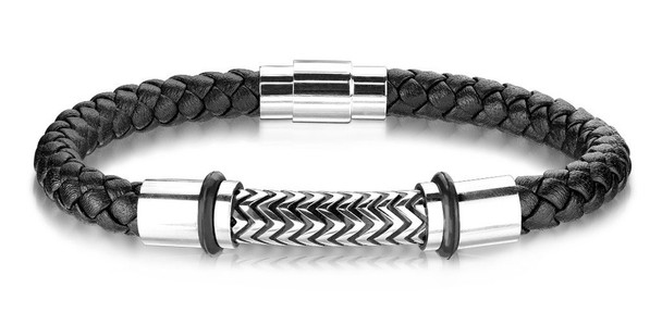 Black Leather and Stainless Steel Braided Bracelet  MMB-12