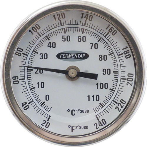 "Fermentap 3"" Dial Thermometer - 2.5"" Probe, Yeast, Brewing Malt"