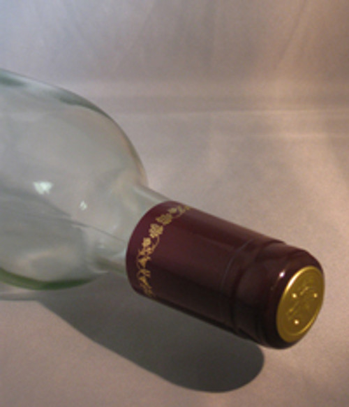 Burgundy w/Gold Grapes PVC Shrink Capsule - 30 count, Yeast, Brewing Malt
