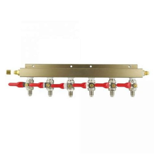 "Gas Manifold Solid- 6 Way with 1/4"" MFL and Check Valve, Yeast, Brewing Malt"