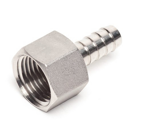 """Barbed Hose Fitting Stainless Steel 3/8""""  - 1/2"""" Female NPT, Yeast, Brewing Malt"""