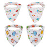 "Joyfay® 4-Pack Baby Bandana Drool Bibs - ""Car and Umbrella"" Set"