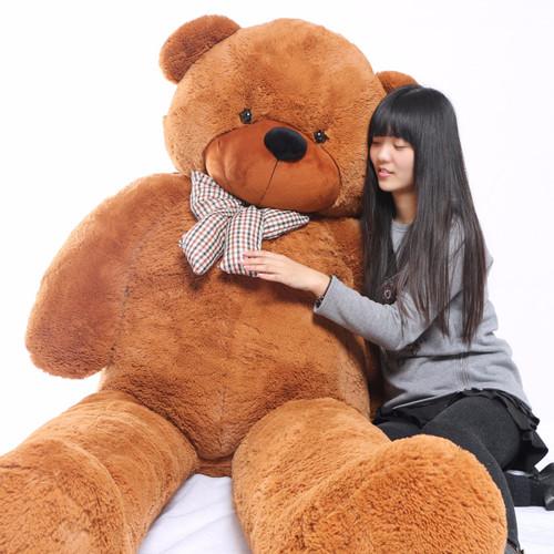 "Joyfay® Enormous 91"" Teddy Bear 7.5 ft Giant Dark Brown, Red Plush Toy"